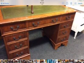 Leather top twin pedestal desk