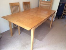 Dining Room Table , light oak, extending and 4 chairs Exc Cond £165 Christchurch