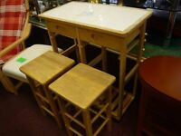 space saving kitchen trolley table with 2 stools