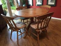 Round Pine Table & four chairs