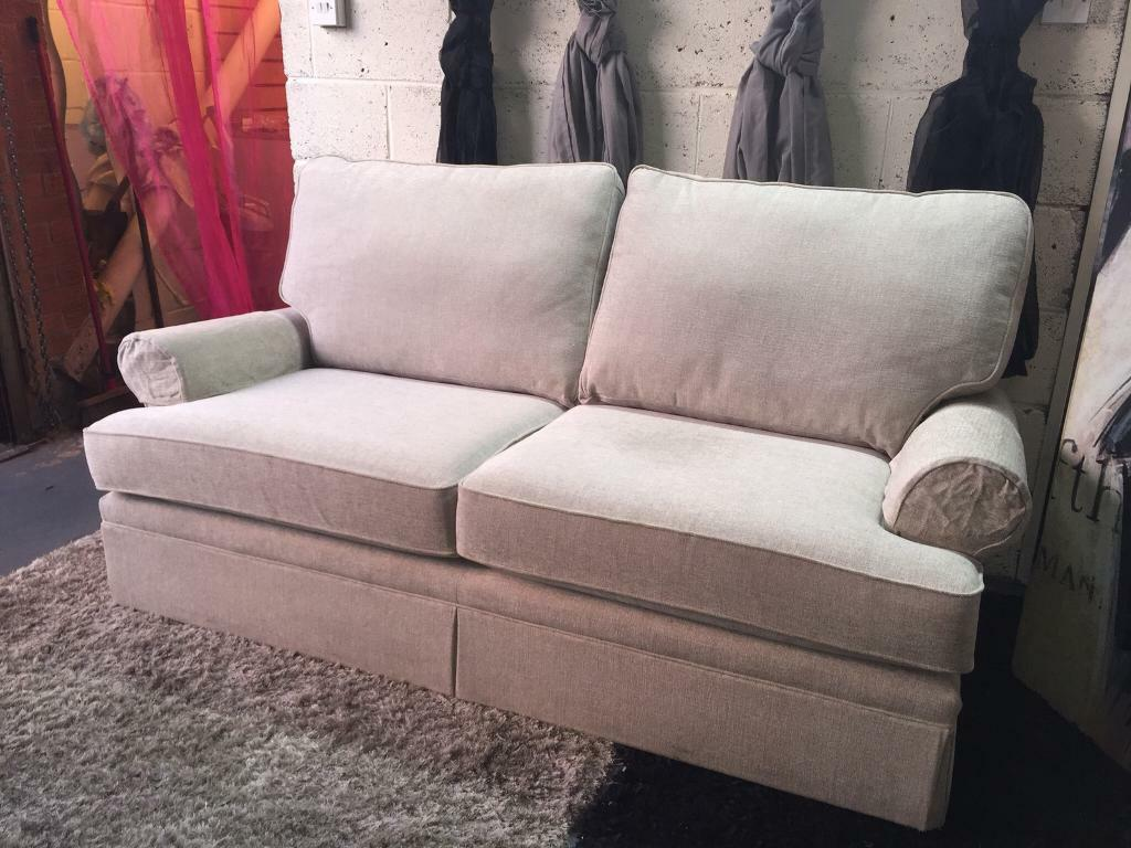New Marks And Spencer Berkeley 3 Seater Sofa In Parros Chenille Natural Colour Fabric Arm Covers