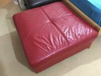 Red Leather Foot Stool or extra seat next to sofa