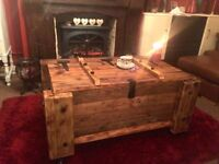 BEAUTIFUL BESPOKE WOODEN TRUNK - ON WEELS CAN DELIVER - HEAVY AND STURDY