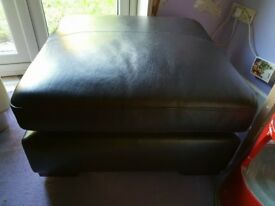 Dark Brown leather footstool for sale Size 80cm x 80cm. Removable top cushion, good condition