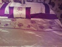 King size duvet cover and pillow cases with matching curtains 66x90ins drop