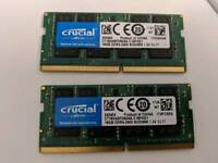 Crucial 32Gb (2x16gb) DDR4-2400MHz SODIMM Laptop/Mac Gaming