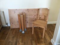Solid pine dining table and four chairs. Fairly good condition, few marks on the table.