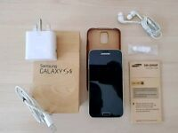Samsung Galaxy S5 16gb. Black. Charger, case, boxed, hands-free earphones. Not iPhone.