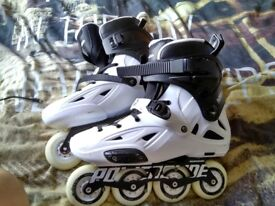 POWERSLIDE IMPERIAL ONE 80 2016 WHITE INLINE SKATES With Full Safety Gear