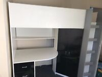 Cabin bed, built in wardrobe and desk, quite new