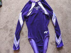 Long sleeve Gymnastics Trampolining Alpha Factor leotard Purple velour adult medium size 36