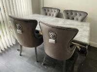 Last set 4 lion chairs grey 1.5 marble top £899