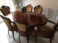 Italian inlaid dining table & 6 chairs - first to see WILL buy!!!