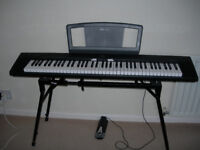 Yamaha NP30 piano keyboard for sale, with sustain pedal and power supply.