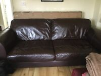 Dfs brown leather 3 seater sofa. Good condition