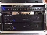 3KW PA (2x Phonic MAX2500 amps, Citronic AX-4-B crossover, cables) with flightcase, no speakers