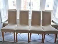 6x Faux leather dining chairs with free covers