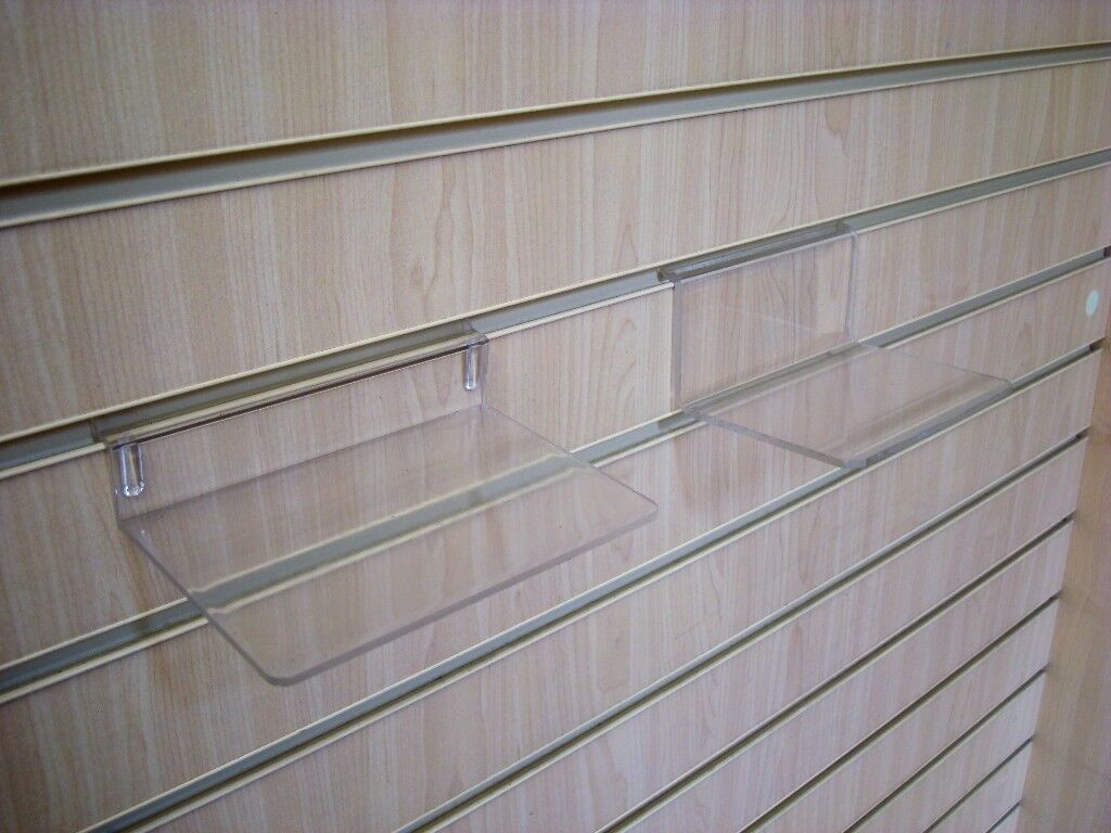 80 approx Slatwall clear perspex acrylic shelves 15x10cm may split
