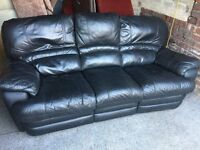BLACK LEATHER 3 SEATER RECLINING SOFA,CAN DELIVER