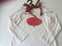 Brand new girls novelty Christmas top and reindeer head band from M&S