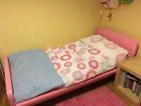 pink ikea bed frame and 70x140 mattress