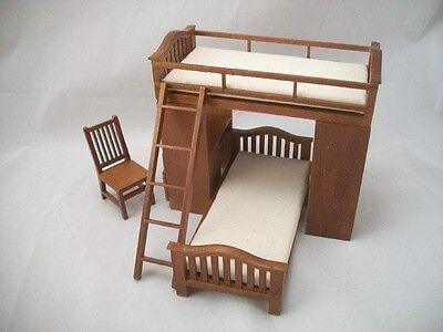 Etagenbett M / Stuhl & Schreibtisch Puppenhaus Miniatur 1/12 Maßstab Holzmöbel ()