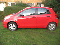 TOYOTA YARIS HATCHBACK 1.0 VVT-i T2 5dr. Red, petrol, great condition, low mileage.