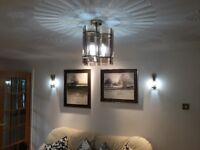 Ceiling light and 2 wall lights in smoked glass and brass