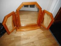 pine tripple dressing table tilt mirror