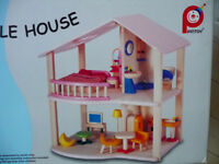 WOODEN DOLLS HOUSE , - My First Home and Furniture by Pintoy
