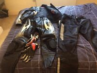 Bike Leathers and Gloves and Material Trousers