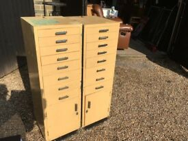 Set of Dentists Draws with Small Cupboards - Draws have Glass Bases