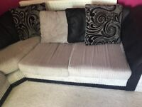 Black and grey large corner sofa