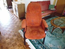 Upholstered chair in red patterned fabric – semi-reclines