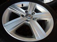 Original Volkswagen Golf 7 alloy wheels 16'' + tires, one year old (4000 miles)
