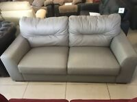 Brand New DesignerGrey Leather 3 Seater Sofa