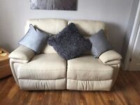 2 Seater ivory leather double manual recliner sofa