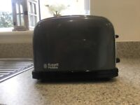 Matching set of Russell Hobbs dark grey kettle and toaster in good condition