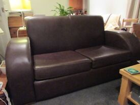 For Sale 2 Seater brown leather sofa