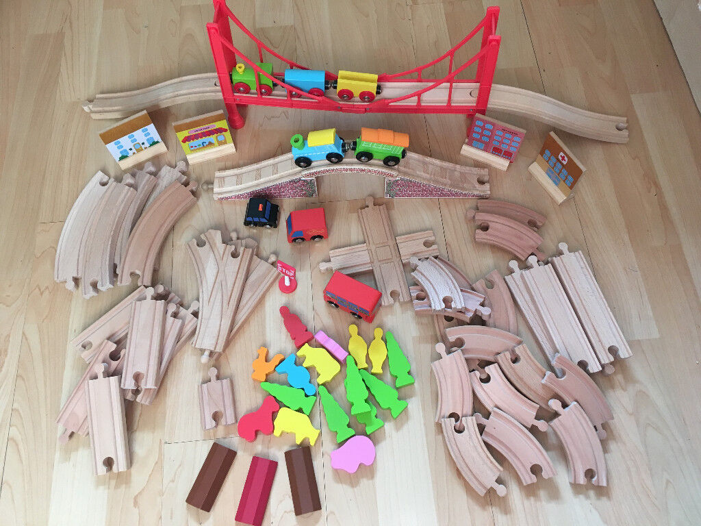 Wooden train set with extras
