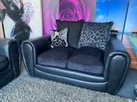 New Monico Fabric And Faux Snakeskin 2 Seater Sofa with Scatter Back Cushions In Black