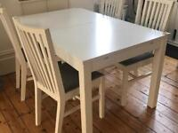 Dining table and chairs - white