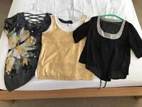 Size 14 sequin/metallic embellished tops (from left):