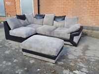 Comfy 1 month old Black and grey cord corner sofa and footstool. can deliver