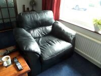 Black leather three piece suite original Barker and Stonehouse