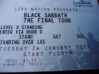 x1 Black Sabbath Concert Ticket (Standing) Glasgow Hydro 24th January