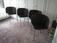 Highly stylish set of 4 chrome legged chairs: retro design
