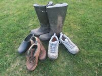 Old wellies and boots for garden planters!