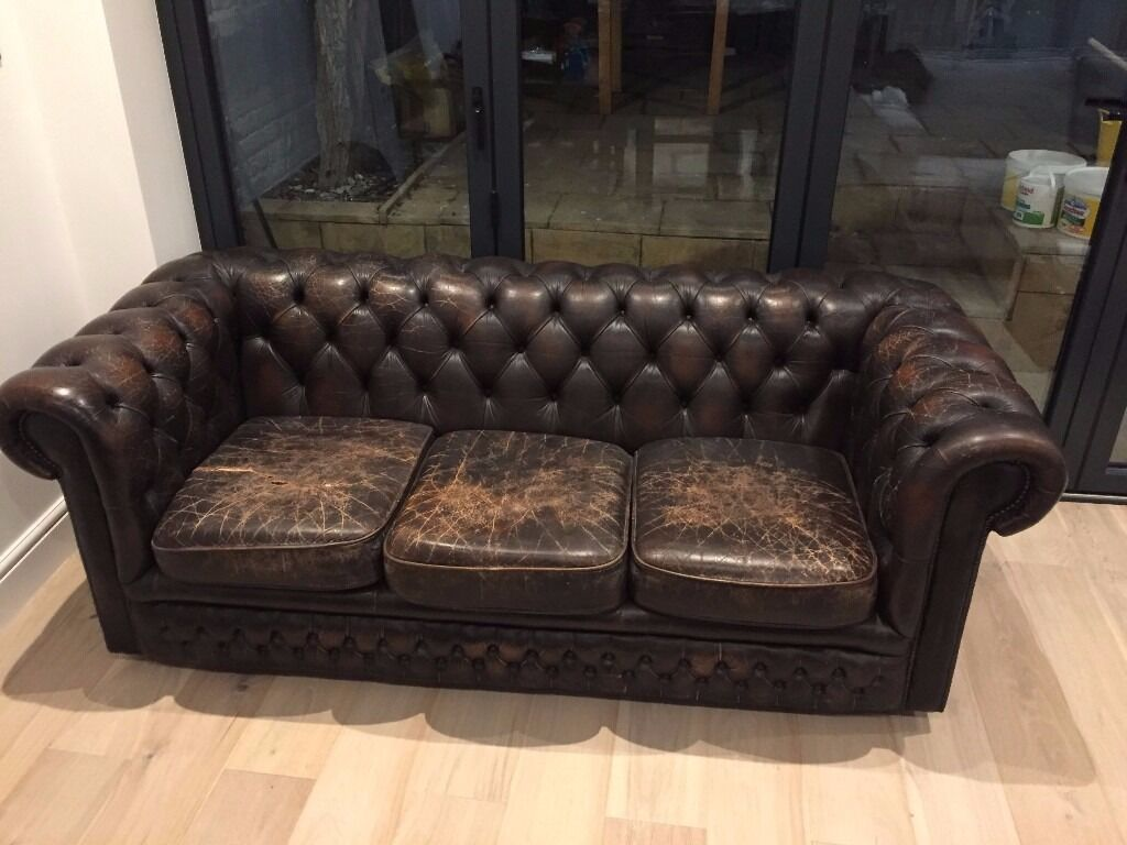 leather 3 seater chesterfield sofa in lambeth london gumtree