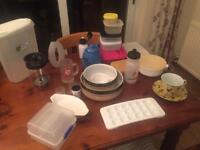 Assorted kitchenware. (China,glass,plastic,coffee pot)